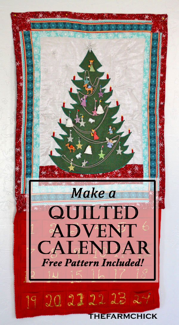 Learn to make a quilted advent calendar for your family to enjoy this Christmas season! #christmas #advent #adventcalendar #countdowntochristmas